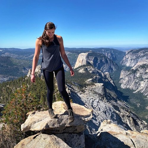 Photo by abbventureisoutthere, caption reads: Checking out the better half of half dome and trying not to fall off a cliff #yosemite #nationalparks #halfdome