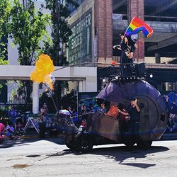 Does your #pride parade have a giant metal death-disco snail covered in leather that shoots fireballs 20 feet into the air? I didn't think so. #oaklandpride #oakland . . . #mojomeetsworld #boyfriends #instagay #gaysofinstagram #LGBT #queer #rainbow #leather