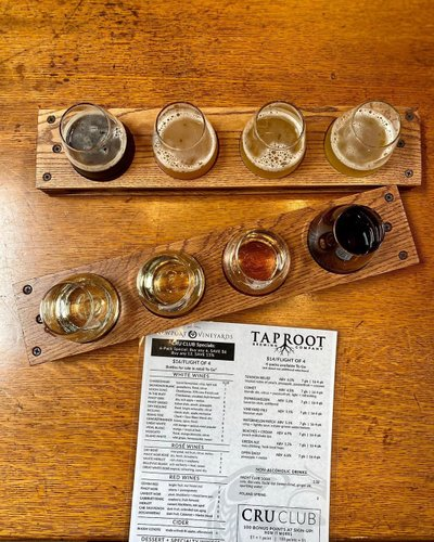 In lieu of our traditional tastings (remember those days when we could stand at a bar!?), our wine and @taprootbeer flights are available when you make a table reservation! Pick 4 wines from our list of 25+ options, or 4 fresh beers on draft. 🍷 🍺
