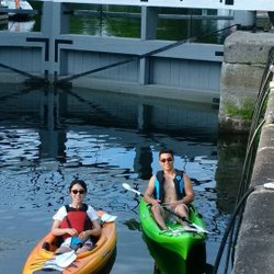 """Our first experience """"locking through"""" in kayaks at Chaffeys Lock on the Rideau Canal. Thank you Rideau Tours!"""