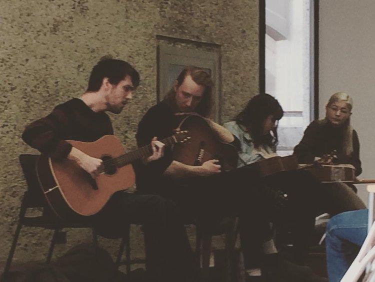 Library folk! @nicdysonmusic and pals performing at the Millennium Library! #folkmusic #acoustic #winnipeg #millenniumlibrary @taylorjanzenn @prairielakesmusic @erikafowlermusic #heyimactuallyatashow #manitobamusic