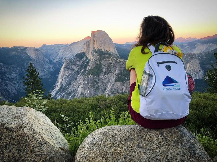 Photo by bjoaodaleo, caption reads: Sunset at Glacier Point (Half Dome is the king of the Valley) #sunset #honeymoon #usaontheroad #glacierpoint #yosemite #halfdome #viaggiodinozze #tramontidapaura