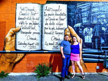 """Pride🏳️🌈Civil Rights Demand. ❤️Beautiful mural on corner of Gilmore and Bank in Ottawa. The mural reads, """"We demand Canada's first demonstration of civil rights for gay, lesbian, bisexual and transgender persons. Ottawa Aug 28, 1971. Can you believe it's only been since 1971 that these rights where requested? Nice to see that on a wall downtown. 🇨🇦🍁 Have a beautiful day everyone.💞 #parliamentcanada #parliamenthouse #ottawabeauty  #lgtbq #lgtbq2 #lgbtqpride #lgbtqottawa #ottawapride #canadapride #ottawalove #ottawaphoto #ottawatourism #facesottawa #narcityottawa #ottawaphotography #ottawalifestyle #canadalove #facesottawa #canadaphoto #canadasworld #canadalife #ottawablogger #ottawabloggers #ottawaphotographer #ottawamagazine #ottawaproud #canadalife #discoveron #ottawacanada #ottawamagazine  #canadalove"""