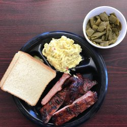"""Barbecue in a gas station? If you've spent time in the south, you know it's a thing! . BBQ pork ribs, potato salad and green beans. Some of the best we've had, and we have had a lot! This is our second time here, and we only come through the Columbus, Georgia - Phenix City, Alabama area once or twice a year. We will be back again! . . . #southerncooking #foodies #foodporn #bbq #phoneeatsfirst #bbqribs #sommlife #southfloridafoodies #tasting #sweethomealabama #vino #wine #wineaddict #wineblog #winecountry #winedown #winelover #winelovers #winemaker #winemaking #wineoclock  #wineoclocksomewhere  #wineoftheday #winepairing #wineporn  #winery #winesofinstagram #winetasting #winetime . . . PLEASE """"like"""" our posts, tag your friends and follow us on Instagram travelwinefoodie . Thank you, and let us know if you are enjoying; Marci & I certainly are!"""