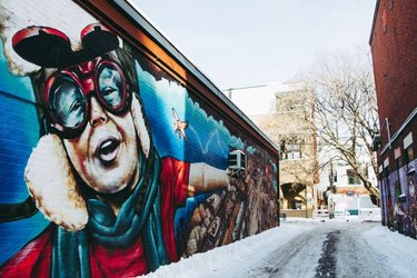 This should be a far more familiar alleyway to most. I've only passed by it a handful of times, but love how the colours pop and direct your eyes toward the alley's hidden features.⠀ ⠀ Who knows where this #OttCity mural was spotted? 🤓