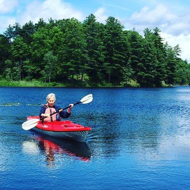 Proving age is just a number, at 80 years young, she is loving her new @deltakayaks 12AR. #infrontenac #getoutside #paddleon #exploreontario #discoveron #nevertooold #kayak
