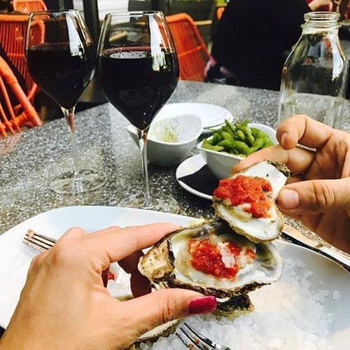 Oysters And Of Course Some Vino!!! Pc: @kristinejune76