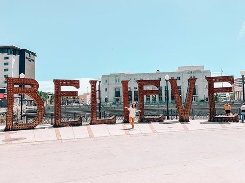 "Don't stop believing... hold onto that feeeeelingggg 🎼🎧 . Sometimes we all need a sign to keep on keeping on. Well this is that sign... it's rather large too 😂 . I've mentioned a few times that Reno is the gateway to Burning Man and because of that and our relationship with the arts, we often are graced with past installations being installed around the city. . This beauty is ""Believe"" by Jeff Schomberg and Laura Kimpton and was on the playa in 2013. ""Believe"" is one of a series of 12-foot-high rustic, block letter word sculptures made of 4-foot-thick steel."