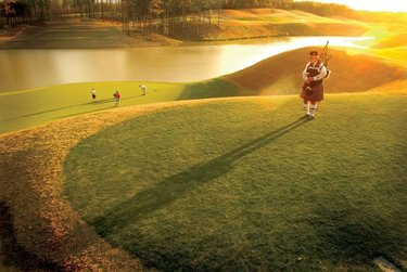 A Scottish tradition with a Southern flare: Each evening at sunset, a bagpiper plays at RTJ at Ross Bridge.  Find out more information at https://alabama.travel/places-to-go/renaissance-ross-bridge-golf-resort-and-spa.  📸: RTJ at Ross Bridge