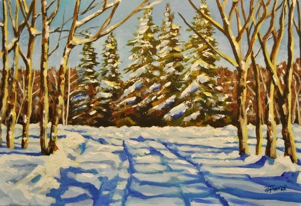 Artist George Tanner paints from nature found mostly in the Whiteshell. Trained as a graphic artist, George is also a long time member of the Winnipeg Sketch Club. This winter scene is from an actual location at Falcon Lake. It's just down the road from his residence. Come see the boreal scene and talk with George about his wonderful work. See you on the 2019 Boreal Shores Art Tour. To view more of George's work, visit him online at gtanner.com or https://www.facebook.com/george.tanner.5.  For more information about the #BSAT2019 Tour please visit our website at www.BorealShoresArtTour.ca.  #TravelMB #EasternMB #YourManitoba #Explore204 #ExploreMB #Manitoba #ManitobaArtists