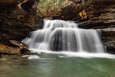 Photo by lucasrubleyphotography, caption reads: Mize Mills was in full flow today roaring like crazy.👌🏻 #photooftheday #takemeback #photography #canon #livethedash #hikealabama #thisisalabama #bankhead #alabamathebeautiful #winter  #waterfall  #toplongexposure #longexposure #onlyinalabama #explorealabamaphotography #naturealabama #naturalalabama #alabamahikes #bestinbama #canon5dsr #waterfall #hiking #alabama #forest #hikingadventures #rain #flow #alabama