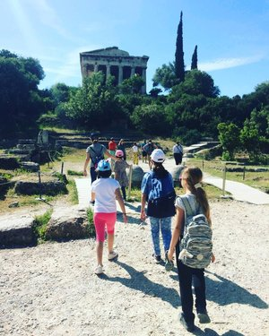 Photo by familyexperiencesblog_greece, caption reads: We had so much fun at the #ancientagora in #athens! ⠀ ⠀ Imagine an interactive creative workshop for kids surrounded by world-famous ancient monuments at the #archaeological site of the ancient Agora in the heart of Athens. Games, painting, theatre and more, we did it all during a workshop for kids with a #kids friendly educator and storyteller in English. We did a similar workshop in the Acropolis Museum. I wrote about our family experience on the blog this week. Tried, tested and recommended! #familyexperiencesblog⠀ https://buff.ly/2Z47kNZ⠀ ⠀ #familytravels #familytravelblog #greecewithkids #welovegreece_ #discovergreece #topgreecephoto #greecepix #greece_moments #greece_travel #greecevacation #greece_vacations #greeceholiday #greecewithkids #perfect_greece #expression_greece ⠀#exquisite_greece #unlimitedgreece #great_captures_greece #tv_greece_ #reasonstovisitgreece #travel_greece #alluring_greece #adoregreece #travel_dream_gr_ #forever_greece1