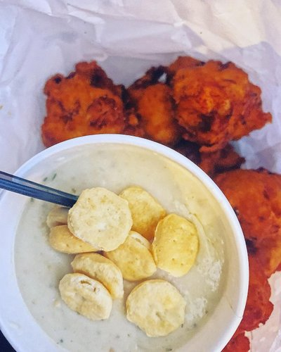 Quito's Clam Cakes and Chowder eat local stay safe . . . . . . . . #eatlocal #clamchowder #clamcakes #quitos #seafood #foodporn