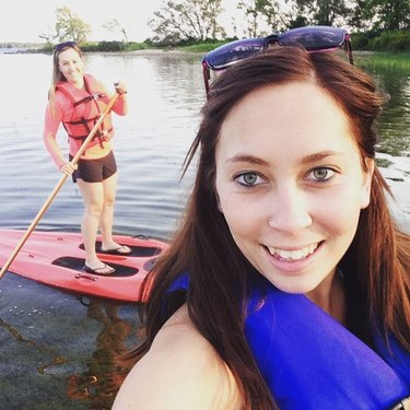 Paddle boarding 😊☀️ #sun #river #paddle #board #fun #friends #summer