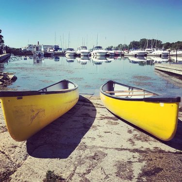 Take a canoe out and explore the many inlets, islands, and a couple of private 'paddle-in' beaches within the park grounds. Rentals available. #canoe #cryslerparkmarina #marinalife #getoutside #paddle